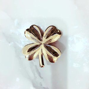 Clover Gold Tone Brooch Pin